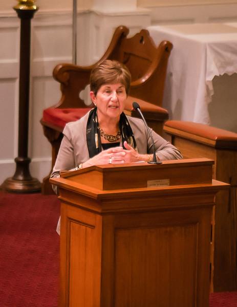 Dianne Royle, NEMPAC Board President, speaks to the crowd