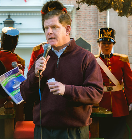 Mayor Marty Walsh speaks on the North End Trolley Tour stop