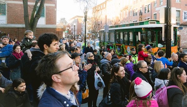 A large crowd of parents and kids gathered for the Trolley Tour stop