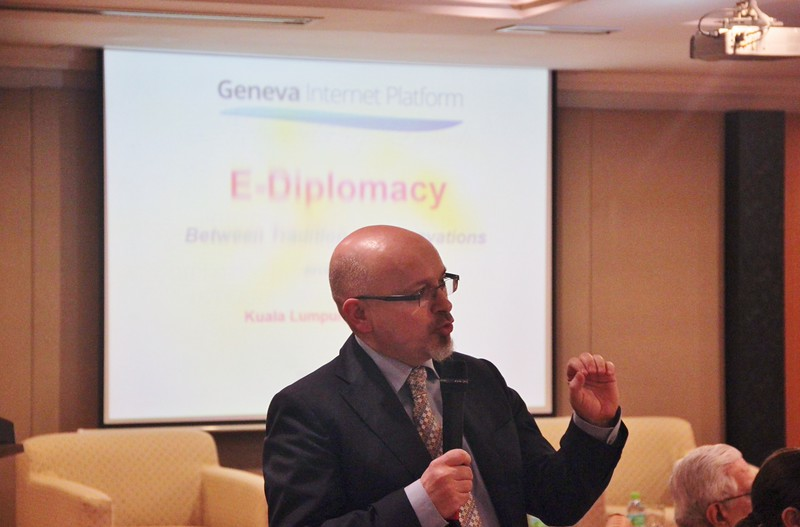 Dr Jovan Kurbalija delivering a lecture in Kuala Lumpur, 16 March 2015