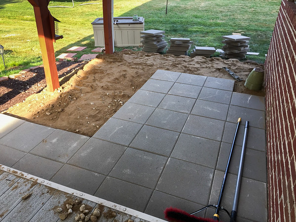 Start laying out the Concrete Stone