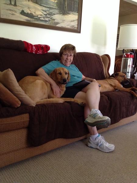 Mom being a dog hog.