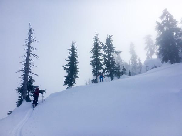 Troy and Dave skinning up the Guye peak ridge line.