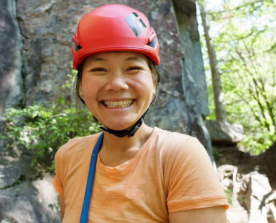 Diana post first climb. Rocks make her happy :)