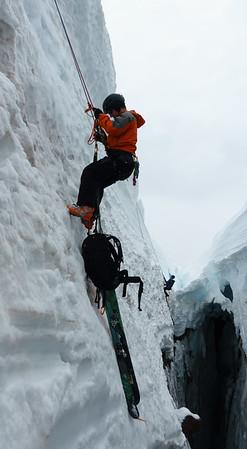 Monty in the crevasse