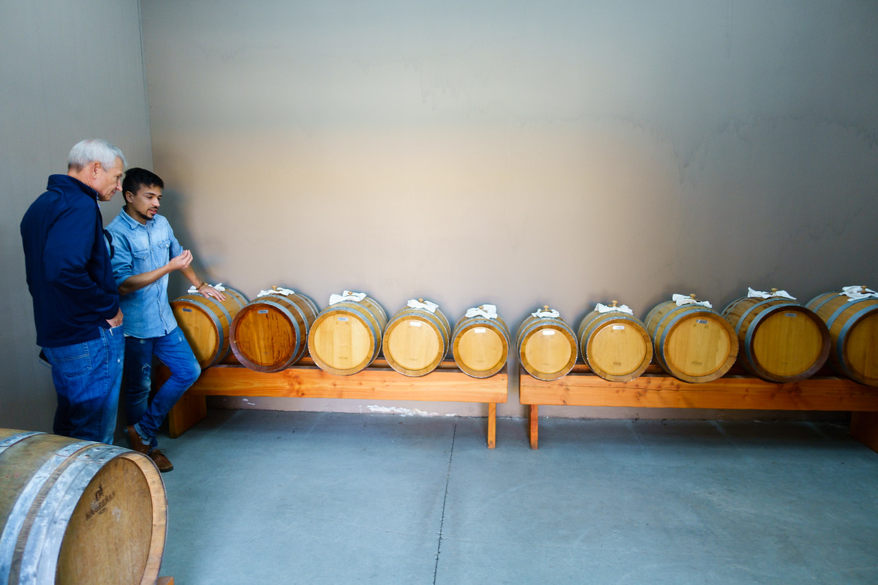 Etruscan(?) sauce production. Usually aged in smaller and smaller barrels for 20 years. Bodegas Re is experimenting with a different technique - let the same sauce age in each barrel for 2 years, mixe it, and let it re-age for a total of 10 years.
