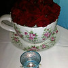 Bowl of roses at Mad Hatter restaurant