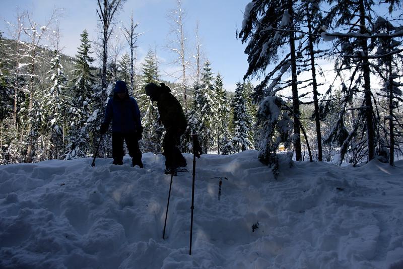 Building snow anchors, Sunday.