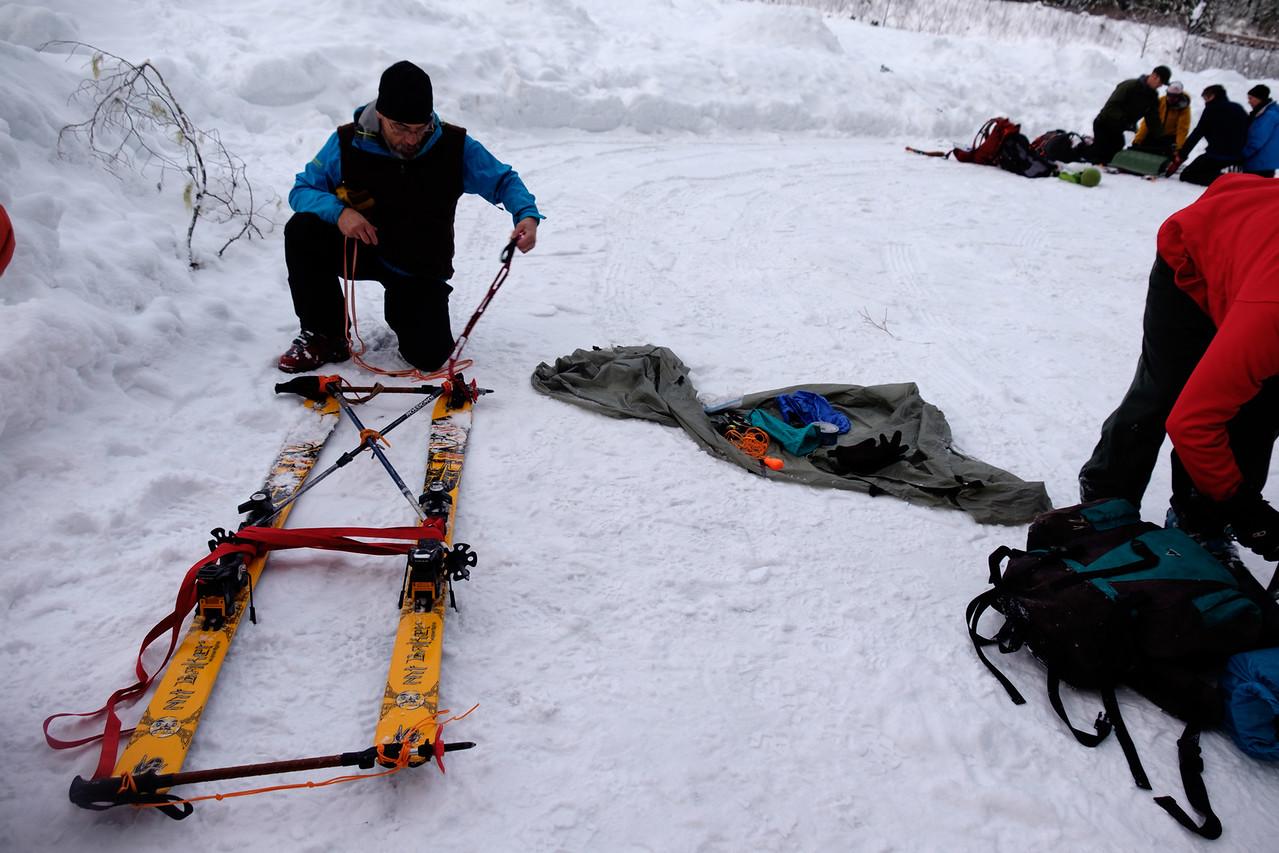 Building emergency sleds, Sunday.