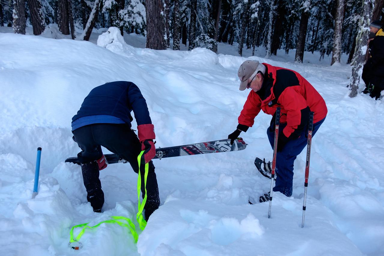 Skis as snow anchors, sunday.