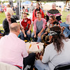 Don Knight | The Herald Bulletin<br /> The Kingfisher Singers perform during the Andersontown Powwow at Athletic Park on Saturday.