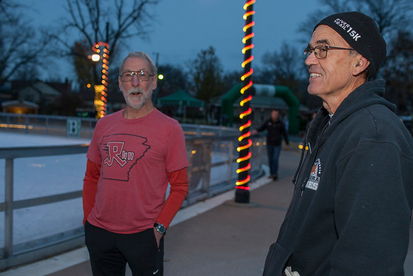 Gathering at Lawrence Plaza, military members and runners sporting, their best Christmas sweaters, braved the cold and ran 3 miles through the streets of Bentonville.