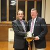 New Chief of Department Kiess presenting Ex-Chief Scott Garrigan with his new helmet