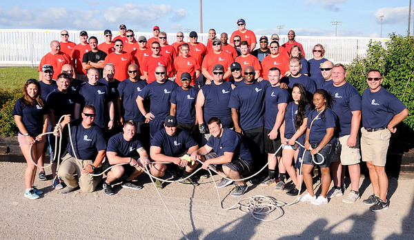 Don Knight | The Herald Bulletin<br /> Guns & Hoses competition between Madison County police and fire departments at Hoosier Park on Saturday.
