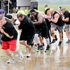 "Don Knight | The Herald Bulletin<br /> The ClipZone team ""Guns and Buns"" wins the co-ed division during the Human Truck Pull."
