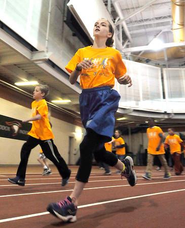 John P. Cleary   The Herald Bulletin<br /> St. Vincent-YMCA Kidz Marathon finale at Kardatzke Wellness Center.