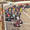 John P. Cleary | for The Herald Bulletin<br /> Chris Neuenschwander gets the jump over pole sitter Caleb Armstrong at the start of the 2016 Pay Less Little 500 sprint car race.