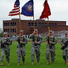The color guard presents the flags prior to the singing of the national anthem and the start of Saturday's Relay for Life.