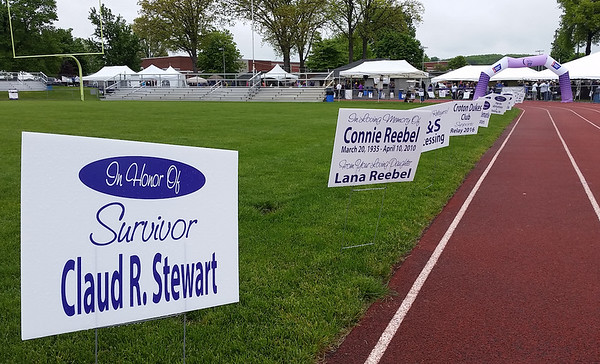 Trackside signs honor loved ones and recognize supporters at the Relay for Life.