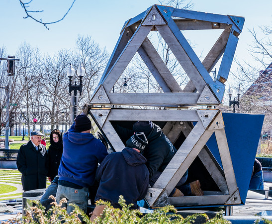 Securing the pieces of the split dodecahedron.