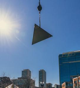 Triangular side panel flies through the air