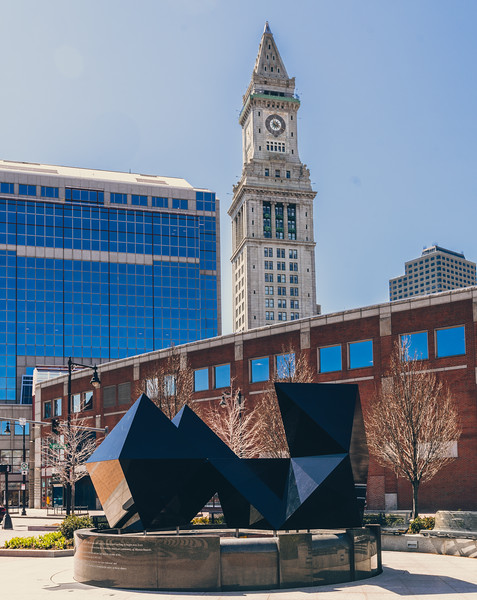 Custom House Tower rises behind the 2016 configuration of the Abstract Sculpture