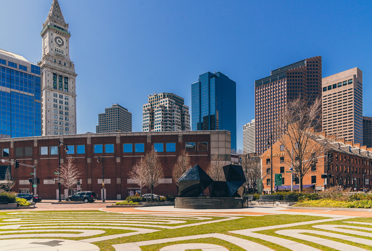 Armenian Heritage Park with the 2016 Abstract Sculpture and Boston Skyline