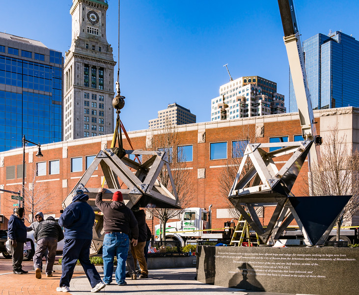 With Boston's skyline as a backdrop, the Abstract Sculpture sections are moved.