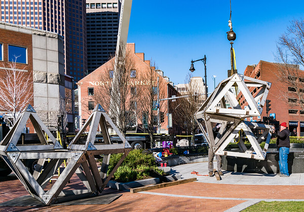 Looking toward Quincy Market, the Abstract Sculpture is reconfigured for the 2016 season