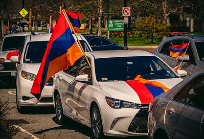 Armenian tricolors drive along the Greenway