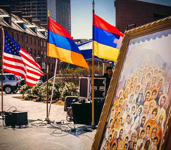 Armenian and US Flags fly with Genocide artwork