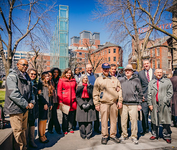 Featured speakers at the Third Annual Walk Against Genocide in front of the Holocaust Memorial