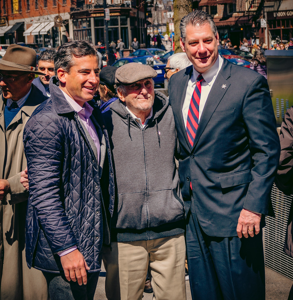 Former Boston City Councilor Mike Ross with his father - a Holocaust survivor and Peter Koutoujian - Sheriff of Middlesex County