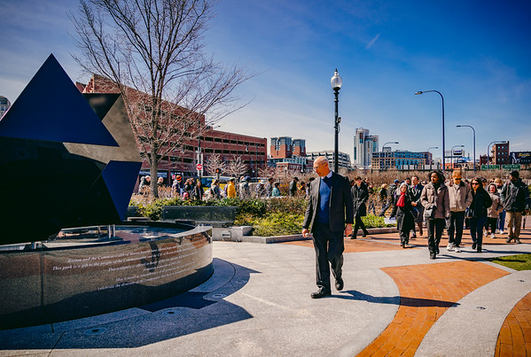Led by Eric Cohen of the Massachusetts Coalition, the walkers against genocide enter Armenian Heritage Park