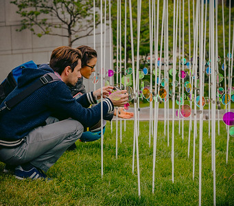 Interacting with the High Tide public art exhibit