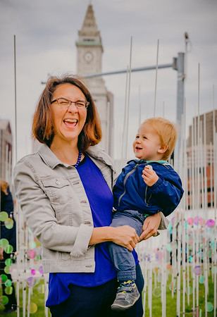Carolina Aragon and her son Lukas in front of the High Tide public art exhibition