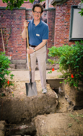 Old North Foundation President Steve Ayres helping dig at the archaeolgical site