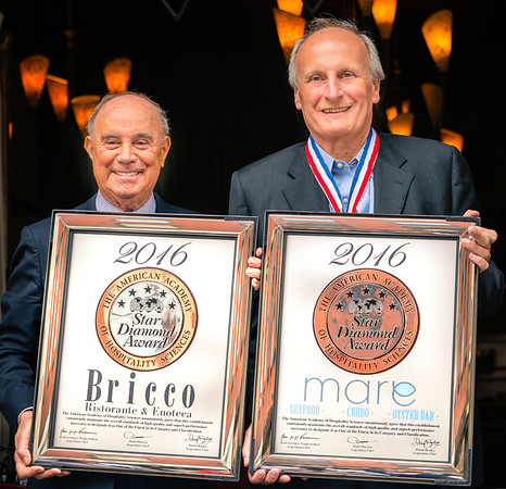 AAHS CEO/President Joseph Cinque (left) and Five Star Diamond Award recipient Frank DePasquale of Bricco and Mare restaurants