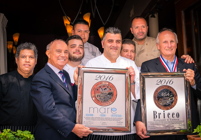 Staff at Bricco join Owner Frank DePasquale and AAHS President Joe Cinque with the 5 Star awards