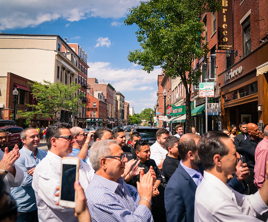 Crowd gathers outside Bricco on Hanover Street for the ceremonies