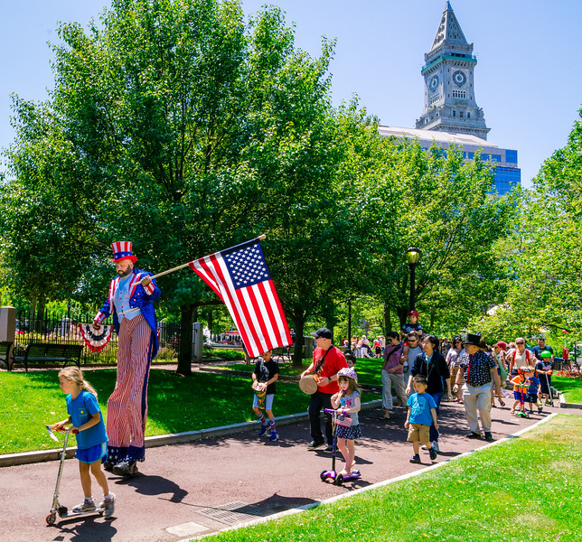 Kids decorated their scooters for the Independence Day parade