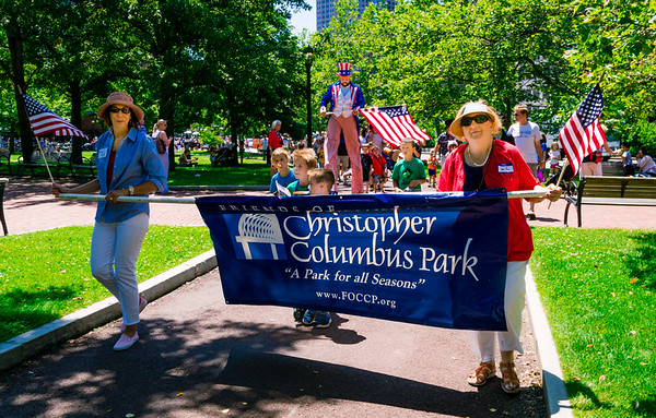 Mary Gaye and Liz parade the FOCCP banner