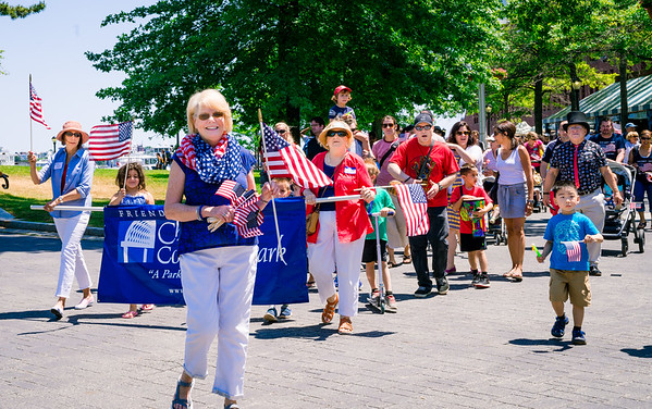 FOCCP President, Joanne Hayes-Rines leads the Independence Day parade