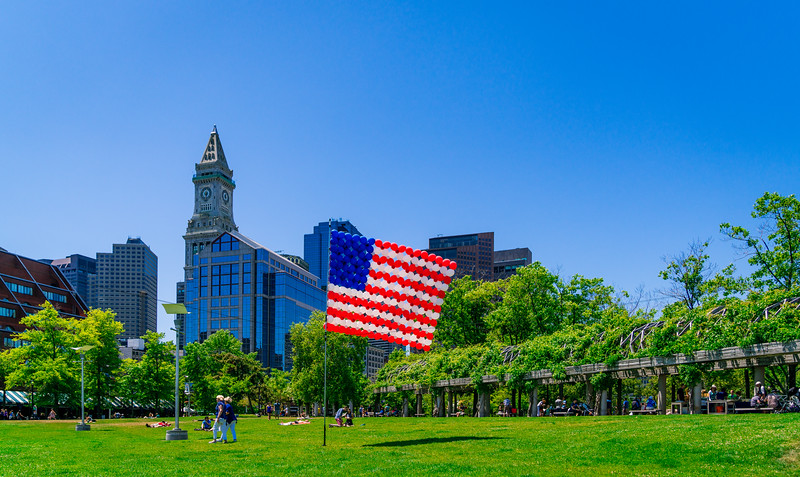 Patriotic Christopher Columbus Park with balloon-based American flag