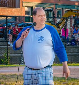 NEAA Sports Coordinator John Romano speaks at the awards program at Langone Park