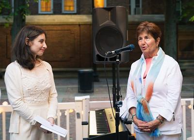NEMPAC President Dianne Royle thanks departing instructor Rebecca Rapoport-Cole