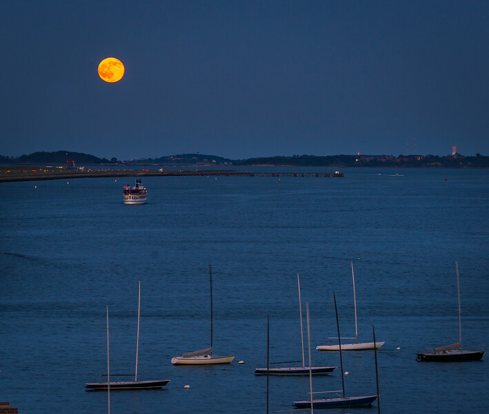 Strawberry Moon over Boston Harbor - June 2016