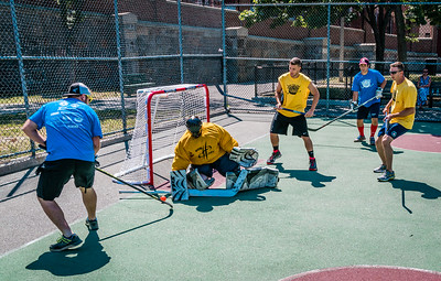Teams play in the 2nd Annual North End Street Hockey Tournament