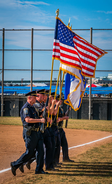 Stars and Stripes with Boston Police Color Guard at Puopolo Field in Boston's North End