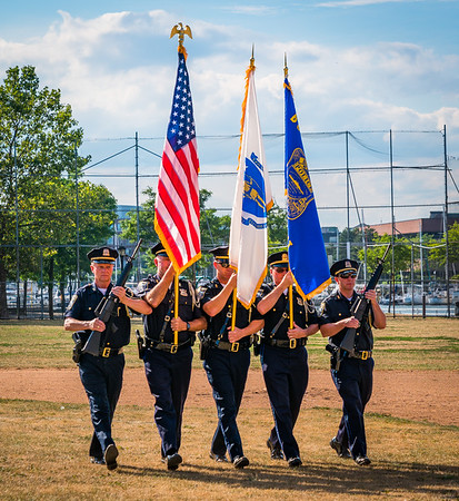 Marching In Line - Boston Police Color Guard